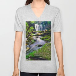 Blackwater Falls State Park West Virginia Waterfall Landscape Unisex V-Neck