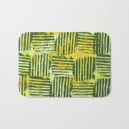 Yellow green striped squares Bath Mat