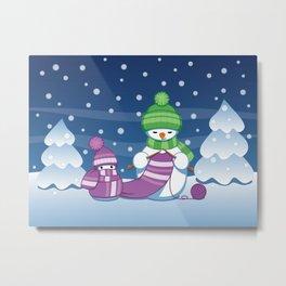 Crafty Snowman Knitting Scarf Metal Print