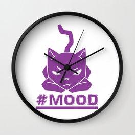 #MOOD Cat Purple Wall Clock