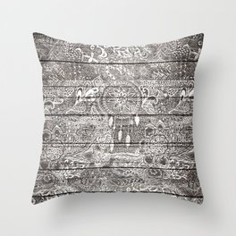 Boho white rustic dreamcatcher floral doodles brown striped wood Throw Pillow