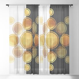 Black, White And Gold Abstract - Modern Geometric Abstract - Pattern Design - Art Deco Abstract 1 Sheer Curtain