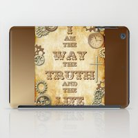 bible verse iPad Cases featuring Bible Verse Steampunk Way Truth Life by Whimsy and Nonsense