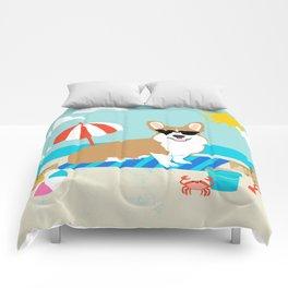 Corgi Summer Beach Day Sandcastles Dog Art Comforters