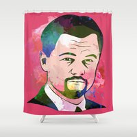 leonardo dicaprio Shower Curtains featuring Leonardo DI-CAPRIO by BIG Colours