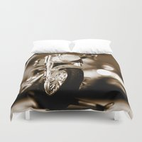 motorbike Duvet Covers featuring Motorbike-Sepia by Yar's Photography