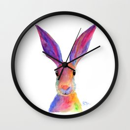 HaRe RaBBiT BuNNY PRiNT ' JeLLY BeaN ' BY SHiRLeY MacARTHuR Wall Clock