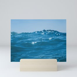 Sea wave close up, low angle view water background Mini Art Print