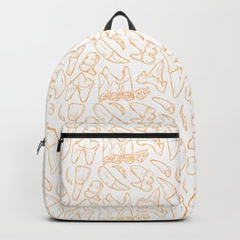 Traces - Teeth - Gold Line (White) Backpack
