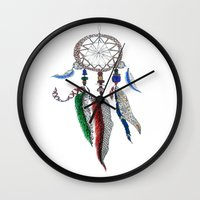 dreamcatcher Wall Clocks featuring Dreamcatcher by Ina Spasova puzzle
