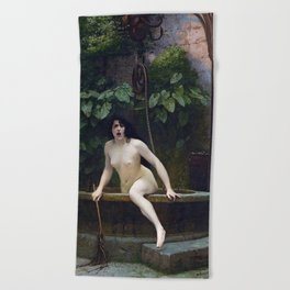 TRUTH COMING OUT OF HER WELL TO SHAME MANKIND - JEAN-LEON GEROME Beach Towel