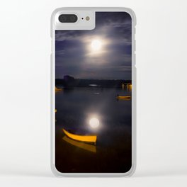 Full moon on Biscay Bay Clear iPhone Case
