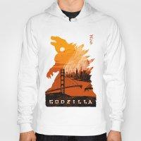 godzilla Hoodies featuring Godzilla  by tim weakland