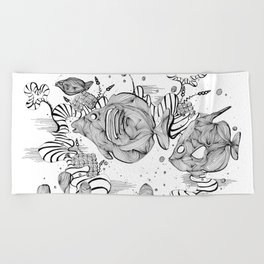 Underwater Tropical Fish Line Art Beach Towel