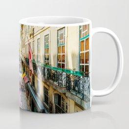 Beautiful Pink Street Downtown Lisbon City, Wall Art Print, Modern Architecture Art, Poster Decor Coffee Mug