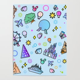 Happy Place on Earth Blue Pattern Poster