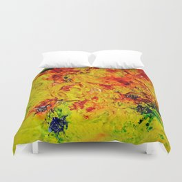 Abstract Yellow Swirls Duvet Cover