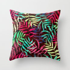 Watercolor Tropical Palm Leaves IV Throw Pillow