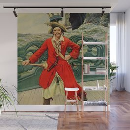 """Captain Keitt"" Pirate Art by Howard Pyle Wall Mural"