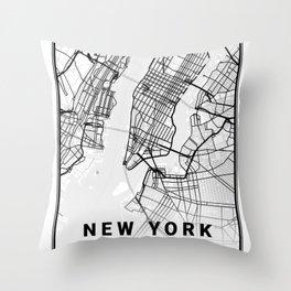 New York Light City Map Throw Pillow