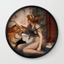 "John William Godward ""Mischief and Repose"" Wall Clock"