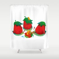 strawberry Shower Curtains featuring Strawberry by DanBee Kim