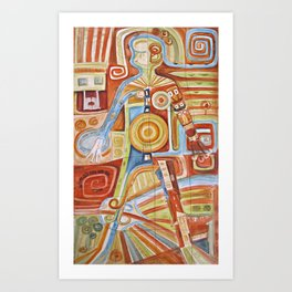 "Puzzle painting "" Woman "" . Mixed media painting . Art Print"