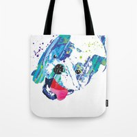 english bulldog Tote Bags featuring English Bulldog by free in the lines