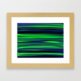 Beautiful Ocean Wave Green Stripes Framed Art Print