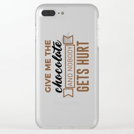 Stay Safe Keep Calm Eat Chocolate Safety Funny Design Clear iPhone Case