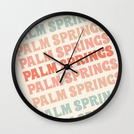 Palm Springs typography trendy retro vintage style 70s minimal art socal cali vibes Wall Clock