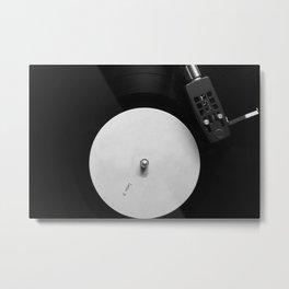 Side B Vinyl on a Turntable in Monochrome Metal Print