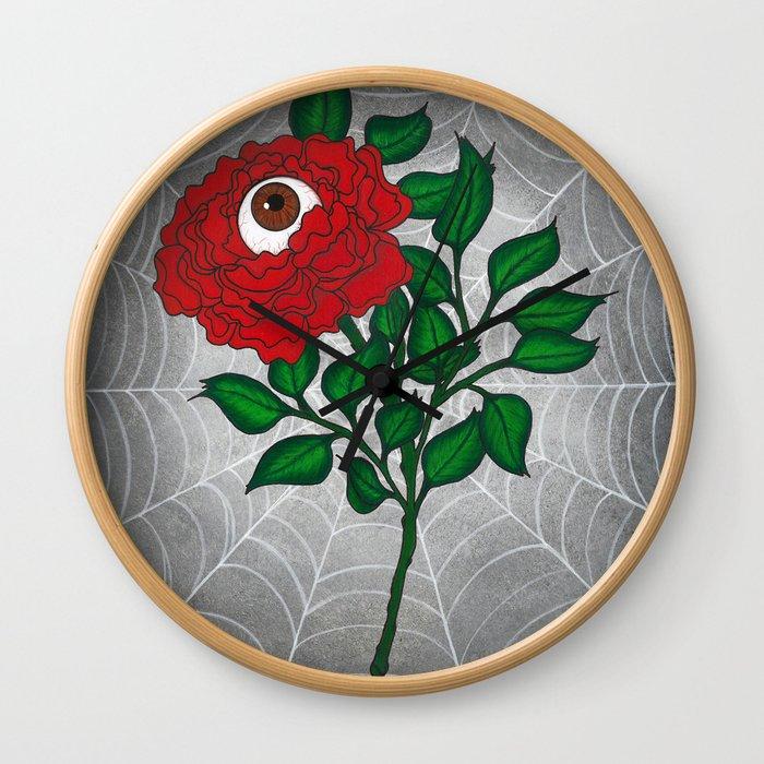 Caught -Eyeball Flower Wall Clock