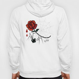 Black Widow Spider with Red Rose Hoody