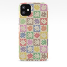Colorful Flower Checkered Pattern iPhone Case