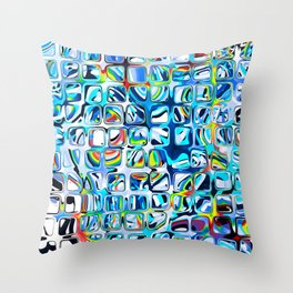 White blue Rainbow Colorful cubes Throw Pillow