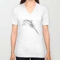 clockwork V-neck T-shirts featuring clockwork narwal by vasodelirium