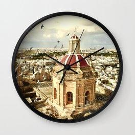 An aerial shot of the Parish Church of Saint Catherine, Zejtun Malta Wall Clock
