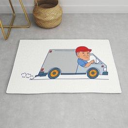 Delivery Man Driving Truck Van Cartoon Rug