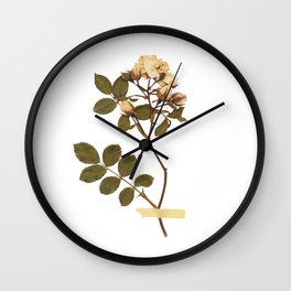 Vintage wild rose and washi tape Wall Clock