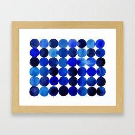 Blue Circles in Watercolor Framed Art Print