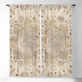 Flower of Life in Lotus Dot Art pastel golds and canvas Blackout Curtain