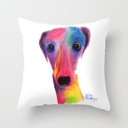 Nosey Dog Whippet Greyhound ' BeLLa ' by Shirley MacArthur Throw Pillow