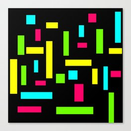 Abstract Theo van Doesburg Composition Neon on Black Canvas Print