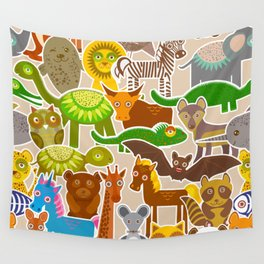 collection Funny cartoon Animals seamless pattern on beige background. Vector Wall Tapestry