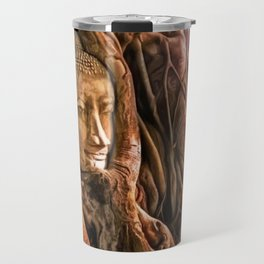 Ayutthaya Temple, Wat Mahathat, Thailand with rich sunlight playing across Buddha's head in tree Travel Mug