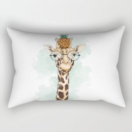 Intelectual Giraffe with a pineapple on head Rectangular Pillow