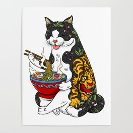 Cat eating Chinese Noodles with Tiger Tattoo Poster