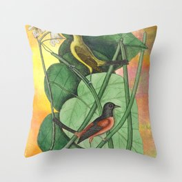 Orioles with Catalpa Tree, Natural History, Vintage Botanical Collage Throw Pillow