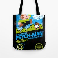 psych Tote Bags featuring The Amazing Psych-Man and Magic Head! by girardin27